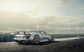 Picture Porsche, Spyder, 918, View, Silver, Wheels, Spoiler, Rear