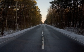 Wallpaper Forest, Markup, Sign, Winter, Road
