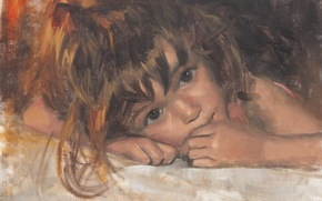 Picture look, face, child, girl, painting, Laurent Botella