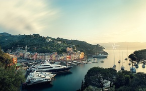 Picture greens, dawn, hills, yachts, morning, photographer, harbour, Michael Woloszynowicz
