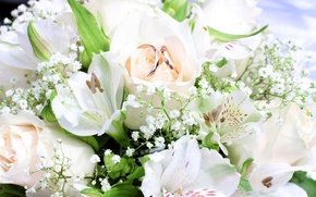 Picture flowers, bouquet, ring, flowers, bouquet, rings