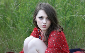 Picture greens, grass, girl, nature, background, model, dress, brown hair, green-eyed, knees, Imogen, Imogen, direct look