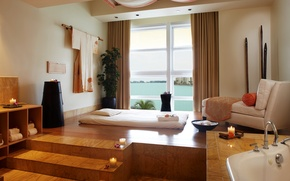 Wallpaper room, tile, interior, candles, window, bathroom, couch, table, Spa, procedures