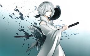 Picture look, girl, sword, anime, art, Raven