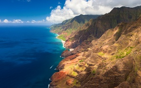 Wallpaper clouds, mountains, the ocean, coast, Hawaii, hawaii