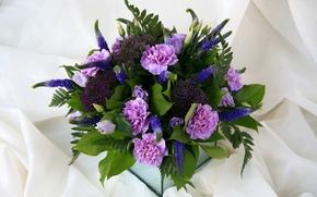 Picture flowers, roses, bouquet, composition, eustoma, clove