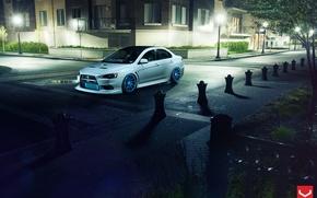 Picture street, Auto, Machine, lights, Mitsubishi, Lancer, Auto, Vossen, Wheels
