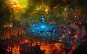 Picture the city, fire, destruction, ruins, Arena