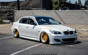 Picture white, wheels, gold, jdm, tuning, germany, low, e60, stance, bmm