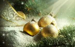 Picture snow, decoration, needles, holiday, balls, Shine, tape, needles, Christmas decorations