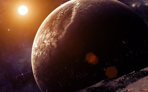 Picture stars, light, space, planet, asteroids