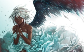 Picture girl, feathers, wing, art, white hair