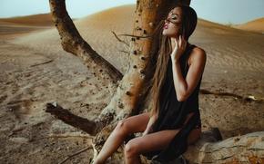 Picture girl, tree, desert, passion, model, Chromatropic