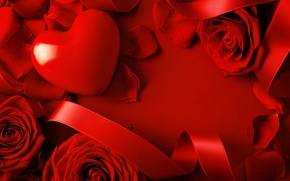 Picture flowers, rose, tape, red, heart, Valentine's day