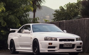 Picture GTR, Nissan, white, Skyline, R34