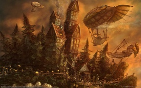 Wallpaper airships, Ognian Bonev, Castle, The Outpost