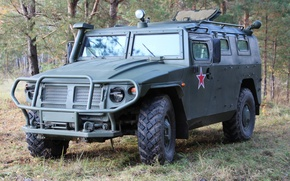 Picture tiger, Russia, armored car