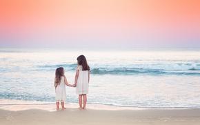 Picture sea, the sky, beach, children, nature