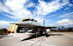 Picture The sky, Clouds, The plane, Fighter, Shadow, Case, Wings, Weapons, Hangar, BBC, Multipurpose, Single, F …