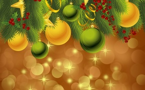 Wallpaper balls, holiday, balls, toys, new year, spruce, vector, the scenery, happy new year, christmas decoration, ...