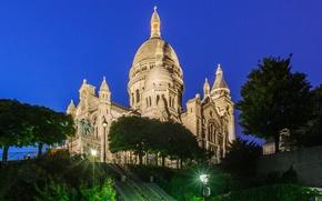 Picture night, lights, France, Paris, Montmartre, sacré-Coeur
