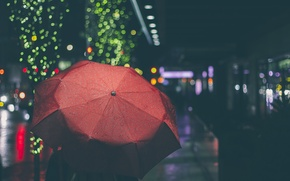 Picture red, the city, lights, street, umbrella, bokeh