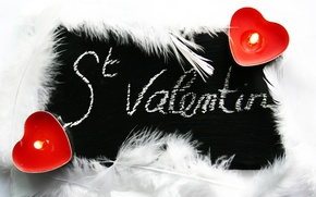 Wallpaper feathers, Valentine's day, heart, candle, light