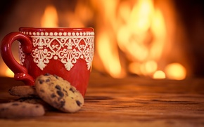 Picture winter, coffee, hot, cookies, Cup, fire, fireplace, cup, coffee, cute, cookies