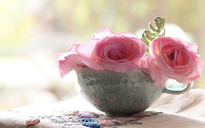 Wallpaper flowers, roses, mug, pink, napkin, embroidery