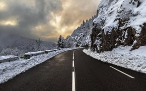 Wallpaper road, snow, mountains
