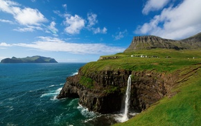 Picture the sky, clouds, mountains, rocks, waterfall, village, on the edge, The Atlantic ocean, Faroe Islands, ...