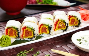 Picture sauce, sushi, rolls, wasabi, filling
