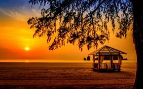 Picture sea, beach, sunset, tree, gazebo, Malaysia, Malaysia, Hangzhou, Andaman Sea, Langkawi, The Andaman sea, Tanjung …