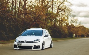 Picture volkswagen, white, wheels, golf, tuning, germany, low, r32, stance, mk6, dapper