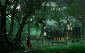 Wallpaper forest, girl, home, art, track, house, red dress, edli