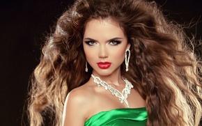 Picture look, girl, decoration, model, hair, earrings, makeup, dress, green, curls, brown eyes