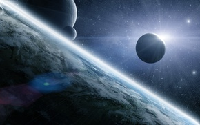 Picture space, surface, star, planet, satellite, Eclipse