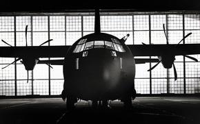 Wallpaper black and white, Propeller, The plane