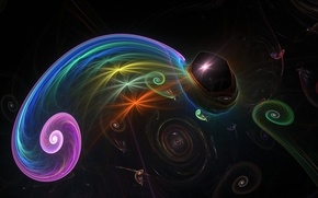 Picture line, chameleon, spiral, background, colored