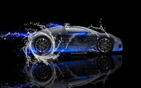 Picture Water, Neon, Bugatti, Veyron, Blue, Veyron, Blue, Photoshop, Photoshop, Design, Black, Water, Neon, Effects, el ...