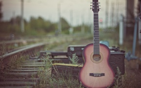Picture nature, street, guitar, blur, railroad