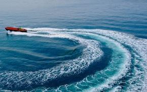 Picture sea, trail, boat, Gulf, Gulf of Lion