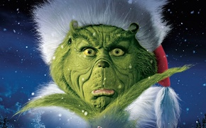 Wallpaper Face, Boy, Grinch, Stole, How, Imagine Entertainment, Couds, Snowflakes, Green, Claus, 2000, Christmas, New Year, ...