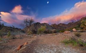 Picture the sky, mountains, the moon, desert, Argentina, Chaco, angel main.photo, Near Fiambala