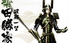 Picture weapons, armor, samurai, characters, helmet, samurai, Sengoku Basara, Shibata Katsuie, by Makoto Tsuchibayashi