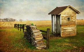 Picture field, house, style, background