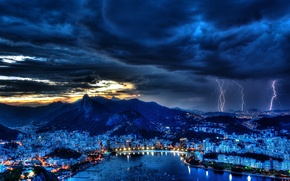 Picture clouds, lightning, Bay, Brazil, lights, the storm, night, the sky, Rio de Janeiro, harbour
