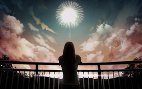 Picture the sky, girl, clouds, art, railings, fireworks, back