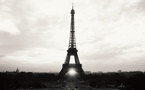 Wallpaper the sky, city, the city, Eiffel tower, Paris, b/W, France, paris, france