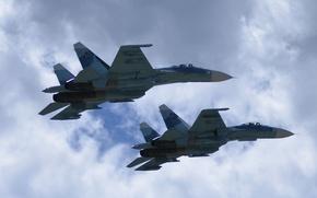 Picture the sky, fighters, flight, Su-27